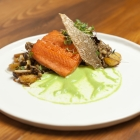 salmon peas mushrooms