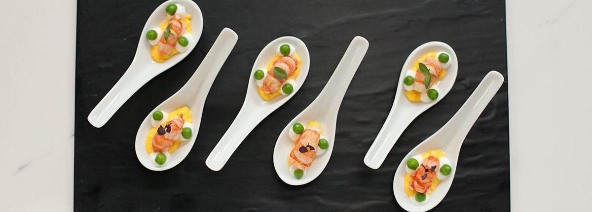 Poached Spot Prawn Spoons