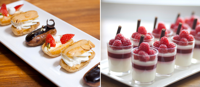 Dessert Buffet Catering: Mini Eclairs & Panna Cotta
